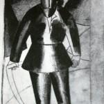 """53. Малевич Казимир """"Косарь"""" 1912 Бумага, черная акварель, графитный карандаш 17,4х11,6 Государственный Русский музей"""