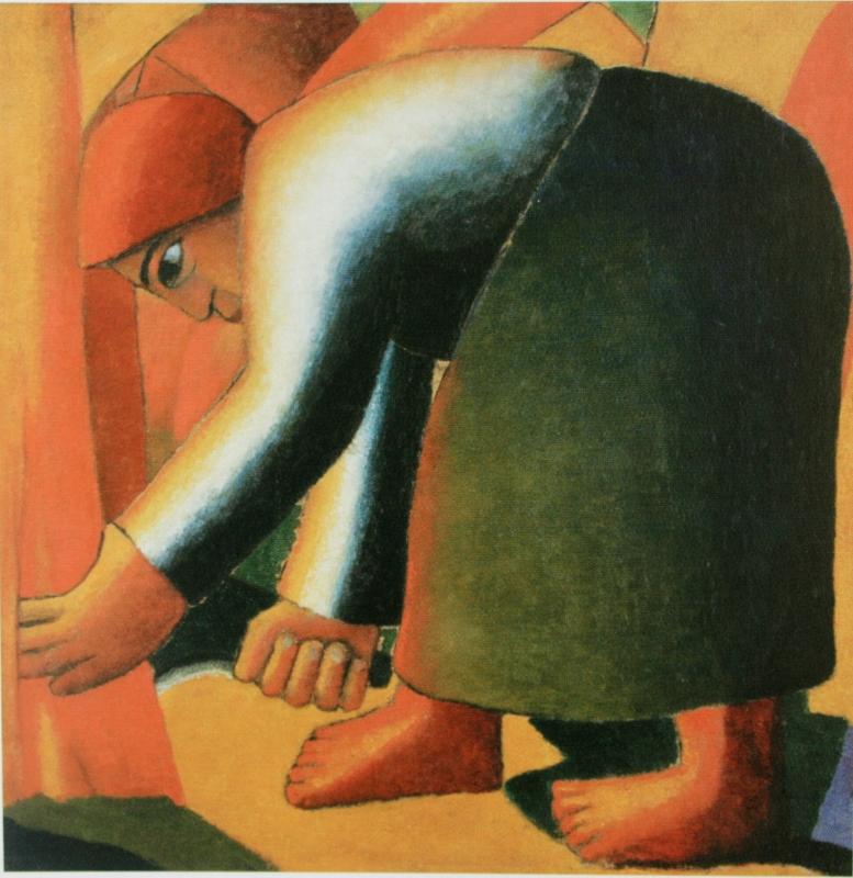 "60.  Малевич Казимир  ""Жница""  1912  Холст, масло  60х68  Астраханская государственная картинная галерея"