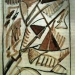 """76. Малевич Казимир """"Смерть конного генерала"""" 1914 Бумага, коричневая тушь, перо, графитный карандаш 16,8х11,5 Государственная Третьяковская галерея"""