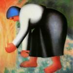 """129. Малевич Казимир """"Жница"""" 1928-1932 Фанера, масло 72,4х72 Государственный Русский музей"""