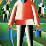"""130. Малевич Казимир """"На сенокосе"""" 1928-1929 Холст, масло 85,8х65,6 Государственная Третьяковская галерея"""