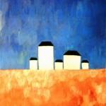 """148. Малевич Казимир """"Пейзаж с пятью домами"""" 1928-1932 Холст, масло 83х62 Государственный Русский музей"""