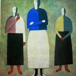"""153. Малевич Казимир """"Три девушки"""" 1928-1932 Фанера, масло 57х48 Государственный Русский музей"""