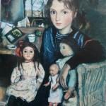 """129. Серебрякова Зинаида """"Катя с куклами"""" 1923 Бумага, пастель 63х47,5 Из собрания Т.Б.Серебряковой"""