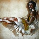 """177. Серебрякова Зинаида """"Отдыхающая балерина"""" 1924 Бумага, пастель 41х60 Частное собрание"""