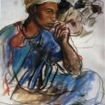 """211. Серебрякова Зинаида """"Задумчивый человек в голубом"""" 1932 Бумага, пастель 68х42,2 Из собрания Т.Б.Серебряковой"""