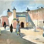 """212. Серебрякова Зинаида Марокко. Улица в Марракеше"""" 1932 Бумага, темпера Частное собрание"""