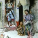 """214. Серебрякова Зинаида """"Дворик. Марокко"""" 1928 Бумага, пастель 20,7х23,8 Частное собрание"""