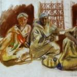 """215. Серебрякова Зинаида """"В кофейне. Марокко"""" 1928 Бумага, пастель 62х48 Частное собрание"""