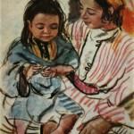 """216. Серебрякова Зинаида """"Мать с ребенком"""" 1928 Бумага, пастель"""