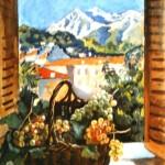 """229. Серебрякова Зинаида """"Корзина с фруктами на окне. Ментона"""" 1931 Холст, масло Частное собрание"""