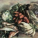"""251. Серебрякова Зинаида """"Рыбы на зелени"""" 1935 Холст, масло 75х93 Государственный Русский музей"""