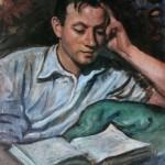 """256. Серебрякова Зинаида """"Александр Серебряков, читающий книгу"""" 1946 Бумага, масло 60,5х46 Из собрания Т.Б.Серебряковой"""