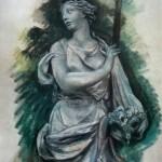 """259. Серебрякова Зинаида """"Скульптура в Тюильри"""" 1941 Бумага, пастель 63х48 Из собрания Т.Б.Серебряковой"""