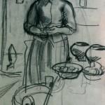 """28. Серебрякова Зинаида """"Молодая крестьянка на кухне"""" 1900-е Бумага, итальянский карандаш 25х16,2 Частное собрание"""