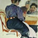 """4. Серебрякова Зинаида """"Автопортрет"""" 1907 Бумага, темпера 31,3х22,5 Нижнетагильский музей изобразительных искусств"""