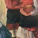"""86. Серебрякова Зинаида """"Две крестьянские девушки"""" 1915 Холст, масло 153,5х63,2 Государственный Русский музей"""