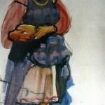 """87. Серебрякова Зинаида """"Крестьянка. Этюд"""" 1916 Бумага, темпера 47,8х27,2 Государственная Третьяковская галерея"""