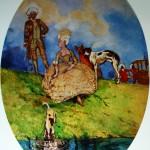 """7. Сомов Константин """"Отдых на прогулке"""" 1896 Бумага, акварель, бронза 74,6х55,2 Государственный Русский музей"""