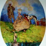 """3. Сомов Константин """"Отдых на прогулке"""" 1896 Бумага, акварель, бронза 74,6х55,2 Государственный Русский музей"""