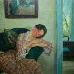 """86. Сомов Константин """"Спящая молодая женщина в розовом платье"""" 1919 Холст, масло 24х31 Собрание семьи Рыбаковых"""