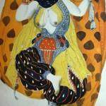 """107. Бакст Лев """"Одалиска. Эскиз костюма к балету """"Шехеразада"""" на музыку Н.А.Римского-Корсакова"""" 1910 Бумага, графитный карандаш, акварель, гуашь, серебро Частное собрание за рубежом"""