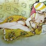 "113. Бакст Лев ""Желтая султанша. По мотивам балета ""Шехеразада"" 1910 Бумага, графитный карандаш, акварель, золото, серебро Галерея дель Леванте, Милан"