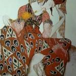 "124. Бакст Лев ""Искандер. Эскиз костюма к балету П.Дюка ""Пери"" 1911 Бумага, графитный карандаш, акварель, гуашь, золото"