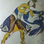 """132. Бакст Лев """"Индийский танец. Эскиз костюма для М.Казати"""" 1912 Бумага, графитный карандаш, акварель, золото 48х31 Частное собрание за рубежом"""