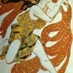 """133. Бакст Лев """"Беотийка. Эскиз костюма к балету Н.Н.Черепнина """"Нарцисс"""" 1911 Бумага, графитный карандаш, акварель, гуашь, золото 28,5х32 Национальный музей современного искусства, Центр Жоржа Помпиду, Париж"""