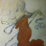 "134. Бакст Лев ""Вакханка. Эскиз костюма к балету Н.Н.Черепнина ""Нарцисс"" 1911 Бумага на картоне, графический карандаш, гуашь 28,6х21,5 Государственный Русский музей"