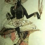 "135. Бакст Лев ""Священный танец. Эскиз костюма к балету ""Синий бог"" на музыку Р.Ана"" 1912 Бумага, графитный карандаш, акварель, гуашь, золото"