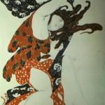 """136. Бакст Лев """"Первая вакханка. Эскиз костюма к балету Н.Н.Черепнина """"Нарцисс"""" Бумага, графитный карандаш, акварель, гуашь, золото Музей изящных искусств, Страсбург"""
