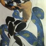 """141. Бакст Лев """"Фавн. Эскиз костюма к балету """"Послеполуденный отдых фавна"""" на музыку К.Дебюсси"""" Бумага, графитный карандаш, гуашь, золото 39,9х27,2 Частное собрание за рубежом"""