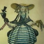 """144. Бакст Лев """"Девочка с куклой. Эскиз костюма к балету """"Волшебная лавка"""" на музыку Дж.Россини"""" 1918 Бумага, графитный карандаш, акварель, гуашь"""