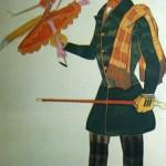 "145. Бакст Лев ""Англичанин с куклой. Эскиз костюма к балету ""Волшебная лавка"" на музыку Дж.Россини"" Бумага, графитный карандаш, акварель, гуашь"