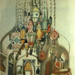 """149. Бакст Лев """"Набросок эскиза для декорации к спектаклю """"Алладин"""" 1919 Бумага, графитный карандаш, акварель"""