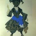 """151. Бакст Лев """"Королевский гвардеец Мавр. Эскиз костюма к балету П.И.Чайковского """"Спящая красавица"""" 1921 Бумага, графитный карандаш, акварель, гуашь, золото"""
