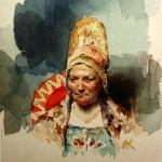"17. Бакст Лев ""Боярыня"" Бумага, акварель 12,7х9,8 Государственный Русский музей"