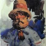"""19. Бакст Лев """"Нормандский крестьянин. Этюд"""" 1896 Бумага, акварель, гуашь 17,8х14 Государственная Третьяковская галерея"""