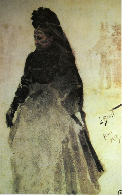 "20.  Бакст Лев  ""Старая парижанка""  1893  Картон, акварель  26х16,5  Музей-квартира И.И.Бродского, Санкт-Петербург"