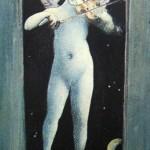"""63. Бакст Лев """"Амур, играющий на скрипке. Рисунок для бонбоньерки"""" 1904 Бумага, акварель, гуашь, тушь, перо, кисть 13,7х8,3 Государственная Третьяковская галерея"""