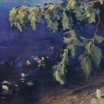 "66. Бакст Лев ""Ветка акации на фоне моря"" 1908 Картон, масло 48,5х69 Государственный Русский музей"