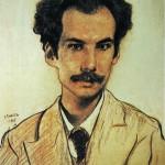 """79. Бакст Лев """"Портрет А.Белого"""" 1905 Бумага, цветной карандаш, мел"""
