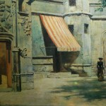 """9. Бакст Лев """"Двор музея Клюни в Париже"""" 1891 Картон, масло 27х35 Государственный Русский музей"""