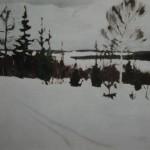 "16. Рылов Аркадий ""Зимняя дорога"" 1915 Холст, масло 30,5х46,5 Государственный Русский музей"