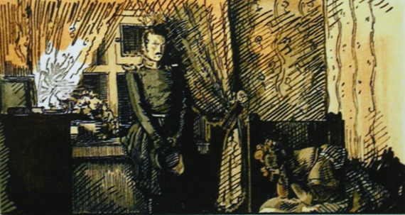 "Александр Бенуа ""Германн и Лиза"" Илл. к повести А.С. Пушкина «Пиковая дама» 1905."
