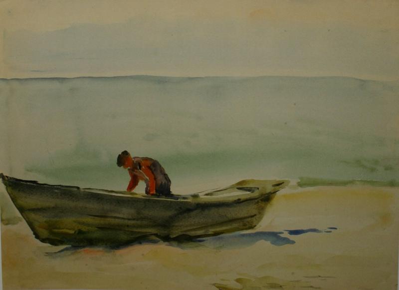 рыбак возле лодки