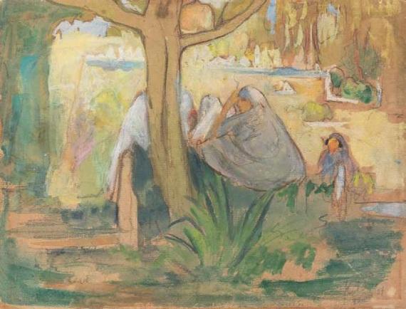 """Кузьма Петров-Водкин """"Женщины в тени деревьев. Бискра"""" 1907"""