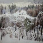"""3. Тоот Виктор """"Зима на севере"""" 1940 Бумага, гуашь 24х33 Собрание семьи художника"""